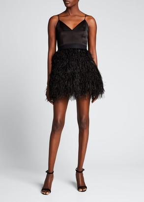 Alice + Olivia Milany Spaghetti-Strap Feather Party Dress