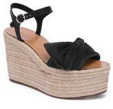 Valentino Garavani Tropical Bow Suede Espadrille Wedge Platform Sandals