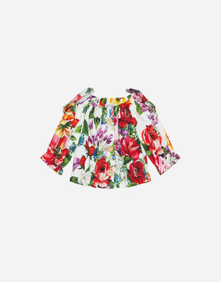 Dolce & Gabbana Cropped Poplin Shirt With Floral Print