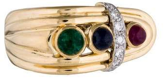 David Webb 18K Ruby, Sapphire, Emerald & Diamond Cocktail Ring