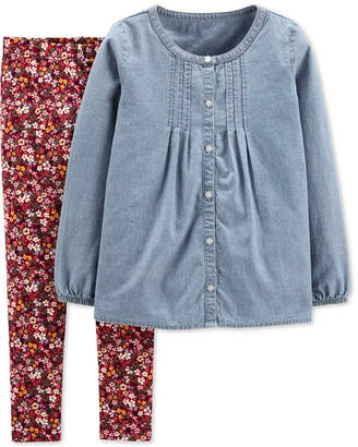 Carter's Carter Little & Big Girls 2-Pc. Chambray Top & Floral-Print Leggings Set