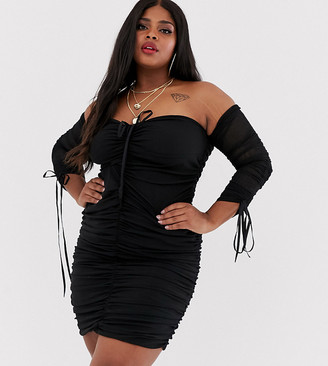 Club L London Plus lace up plunge front long sleeve ruched mini dress in black