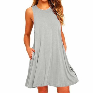 goneryisour Summer Casual Women's Swing T-Shirt Dres - Loose Sundr Holiday Beach Loose Dr Cover Up wi Poets Grey