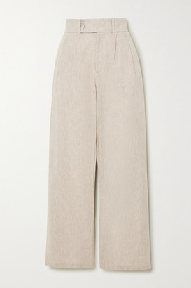The Line By K Bettina Linen-blend Wide-leg Pants - Beige