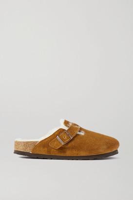 Birkenstock Boston Shearling-lined Suede Slippers - Tan