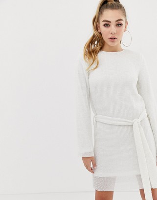 Club L London allover sequin shift dress with belt detail in white
