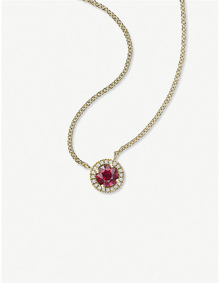 Vashi Halo 0.3ct ruby and 18k yellow-gold pendant necklace