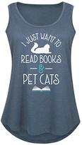 Instant Message Plus Women's Tank Tops HEATHER - Heather Blue 'Read Books & Pet Cats' Tank - Plus