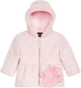 S. Rothschild Baby Girls Quilted-Heart Hooded Jacket & Mittens