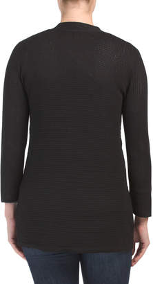 Open Front Cover Up Sweater With Novelty Stitch
