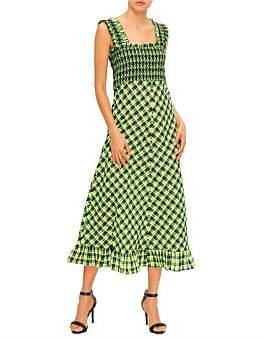 Ganni Seersucker Check Long Dress