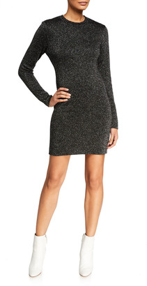 Pam & Gela Metallic Long-Sleeve Crewneck Short Dress