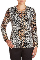 Allison Daley Petite Crew Neck Zip-Front Printed Jacket