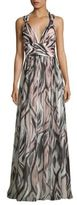Aidan Mattox Halter Shirred Printed Maxi Dress