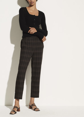 Vince Classic Plaid Pull On Pant