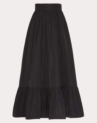 Valentino Micro-faille Full Skirt Women Black Polyester 46% 36