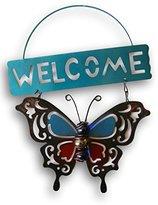 Garden Collection Metal Butterfly ''Welcome'' Hanging Door Sign - 7.5'' x 9.5''