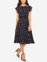 The Limited Printed Flutter Sleeve Midi Dress