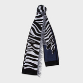 Paul Smith Women's Navy Zebra Pattern Wool-Blend Scarf