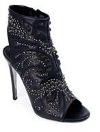 Roberto Cavalli Women's Black Leather Peep Toe Ankle Boot.