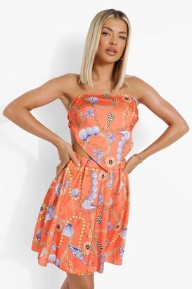 boohoo Shell Print Scarf Top & Mini Skirt