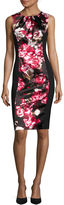 London Times London Style Collection Sleeveless Floral-Inset Sheath Dress