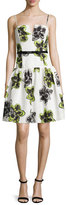 Milly Sleeveless Dropped-Waist Party Dress, Citron
