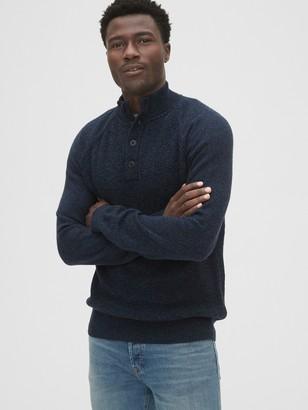 Gap Button-Front Mockneck Sweater