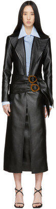 Materiel Tbilisi Black Faux-Leather Belt Coat