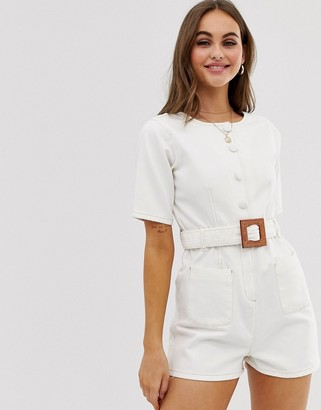 Asos Design DESIGN denim collarless button through playsuit with belt