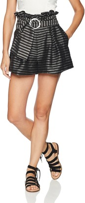 C/Meo Women's Blinded Belted Paper Bag Shorts
