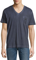 Diesel Faded V-Neck Cotton Tee, Navy Blue