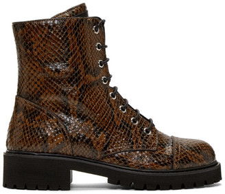Giuseppe Zanotti Brown Snake Embossed Lace-Up Combat Boots