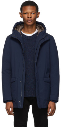 Herno Navy Down Hooded Coat