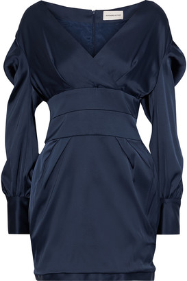 Alexandre Vauthier Pleated Satin Mini Dress