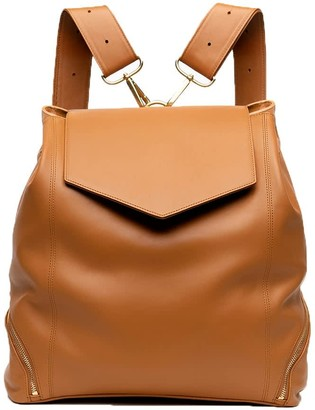 Holly & Tanager The Professional Leather Backpack Purse In Caramel