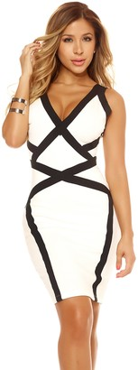 Forplay Women's Dress with Symmetrical Contrast Design