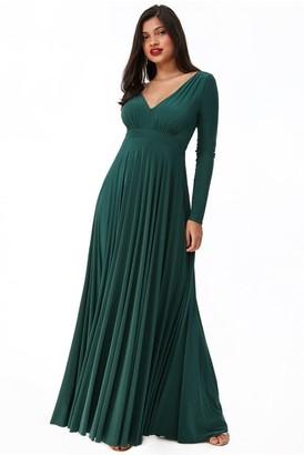 Goddiva Plunge Neck Pleated Maxi Dress