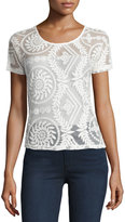 Romeo & Juliet Couture Short-Sleeve Lace Top, Cream