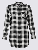 M&S Collection Longline Checked Long Sleeve Shirt