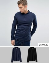 Asos Long Sleeve Jersey Polo 2 Pack Black/Navy SAVE