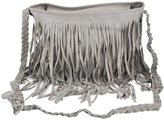 SODIAL(R) Boho Hippie Fringed Tassel Suede Shoulder Messenger X Body Hand bags Purses - Grey