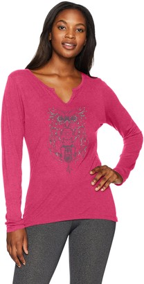 Hanes Women's Split Neck Graphic Long Sleeve Tee