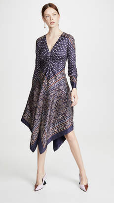 Jonathan Simkhai Scarf Print Deep V Long Sleeve Dress