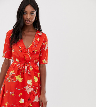 Influence Tall floral wrap dress with tie sleeve and ruffle in red