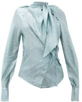 Petar Petrov Betsey Tie-neck Silk-blend Lame Blouse - Womens - Blue