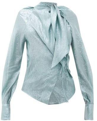 Petar Petrov Betsey Tie-neck Silk-blend Lame Blouse - Blue