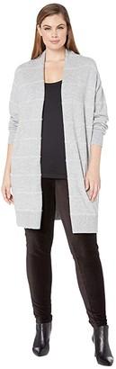 MICHAEL Michael Kors Size Tinsel Stripe Long Cardigan (Pearl Heather) Women's Clothing