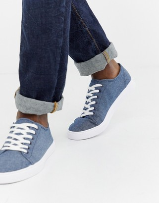 Asos DESIGN sneakers in blue chambray