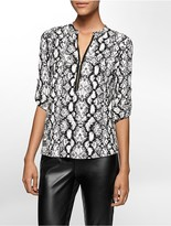 Calvin Klein Animal Print Mandarin Collar Roll-Up Sleeve Top